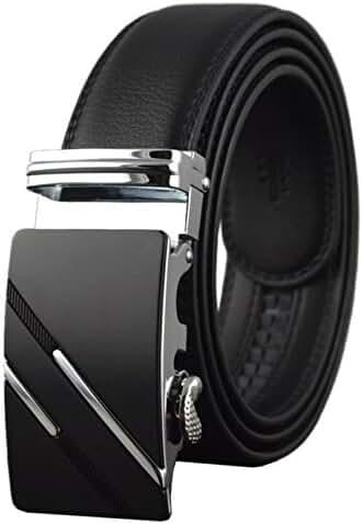 QISHI YUHUA Belt Men's Leather Ratchet Belt