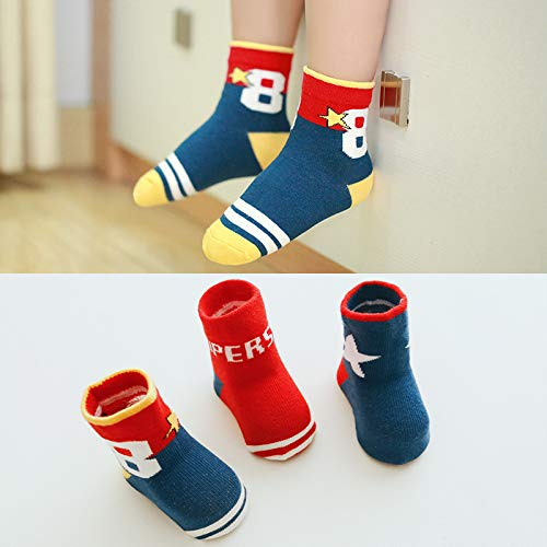 5-Pairs Baby Kids Socks Cotton Socks Boys and Girls Socks Colorful Novelty Fashion Cotton Crew Socks for 1~3 Years Old