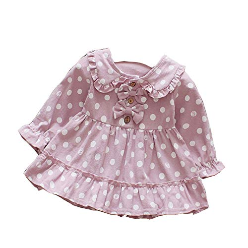 Toddler Baby Girl Long Sleeve Dress Dot High Waist Wedding Dress with Bow Birthday Dress Pageant Dresses (Purple, M) ()