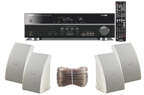 Yamaha 3D-Ready 5.1-Channel 500 Watts Digital Home Theater Audio/Video Receiver With a USB Digital Input and Connecting Cable to Play & Charge Your iPod or iPhone & Control Remotely + Set of 4 Yamaha All Weather Indoor / Outdoor 180 watt Wall Mountable Natural Sound 2-way Acoustic Suspension Speakers - White + 100ft 16 AWG Speaker Wire