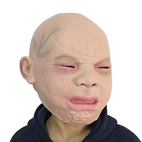 Fellibay Baby Crying Halloween Mask Party Latex Mask Rubber Creepy Face Head Mask Halloween Party Costume Decorations(Cry Baby)