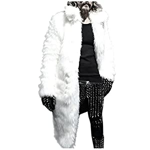 Kixing TM Mens Winter Warm Thicker Long Coat Jacket Faux Fur Parka Outwear (White, 2XL)