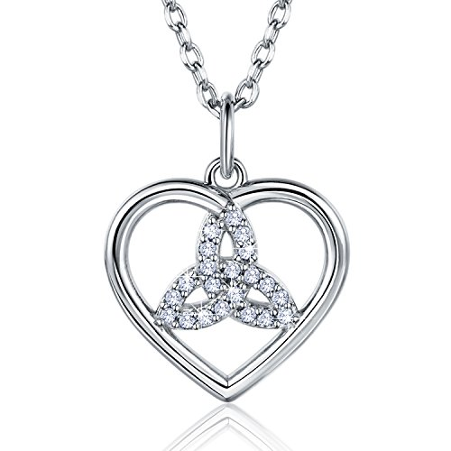 Billie Bijoux 925 Sterling Silver Good Luck Irish Celtic Knot Triangle Vintage Love Heart Pendant White Gold Plated Necklace for Women ()