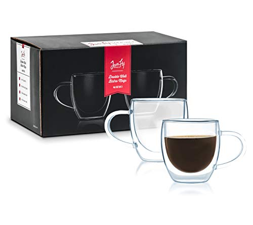 Javafly Double Wall Glass Espresso Mug with Handle 4 Oz Set of 2