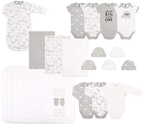 The Peanutshell Newborn Layette Set in Unisex Grey - 23 Piece Set for Newborn Baby Boys or Girls