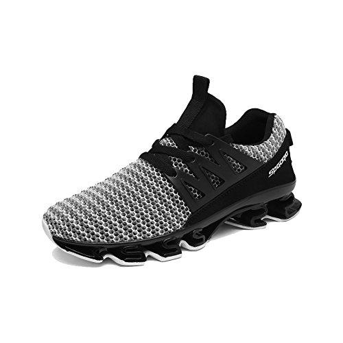 Mu Yangren Springblade Sport Running Shoes, Men's Blade Mesh Breathable Trail Runners Fashion Sneakers Grey