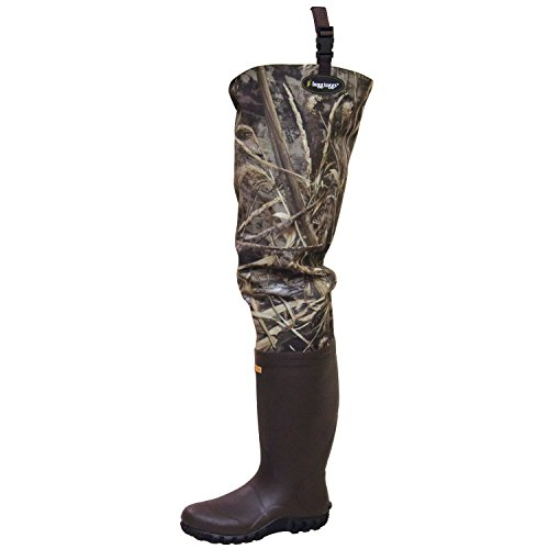 Frogg Toggs Bogg Togg 2-ply Poly/Rubber Bootfoot Camo Hip Wader, Cleated Outsole, Realtree Max5, Size 10