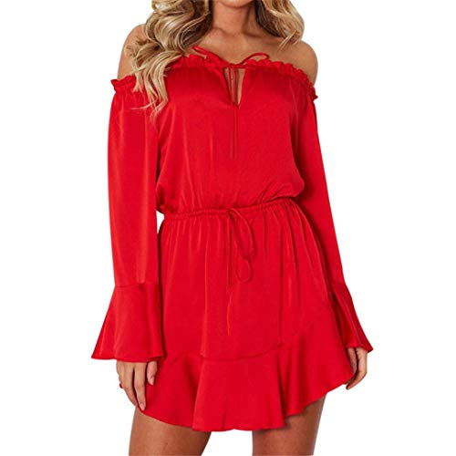 - XVSSAA Ladies Nightclub Party Dress, Women Pure Color Long Flare Sleeve Slash-Neck Off Shoulder Lace-Up Mini Dress Red