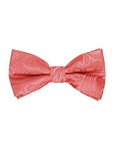 - Men's Paisley Pre-Tied Bow Tie - Coral