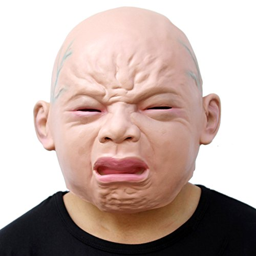 Rubber Face Masks Halloween (CreepyParty Novelty Halloween Costume Party Latex Head Mask Baby Face (Cry Baby) (Cry)