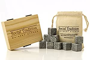 Social Tradition 9-Piece Natural Whiskey Soapstone Set in Pine Wood Case
