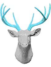 White 8 Point Deer Head with Turquoise Antlers   Faux Taxidermy   White 8 Point Resin Deer Head with Turquoise Antlers   Faux Taxidermy Studio (White-Turquoise, 20.5
