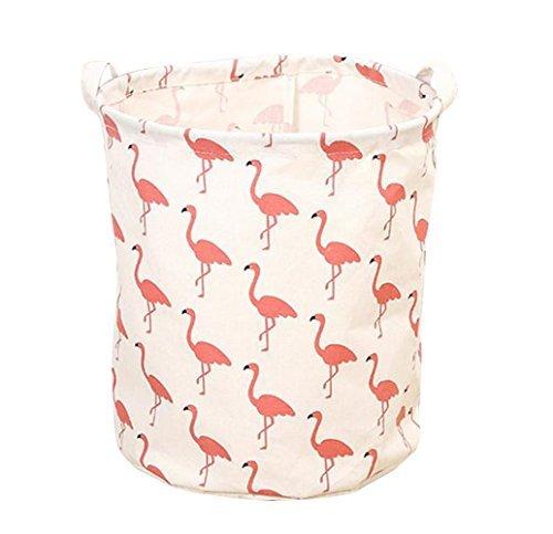 SAKUYV Flamingo Toy Storage Canvas Kid's Nursery Organizer Laundry Hamper for Kids Toys & Room (Red Flamingo)