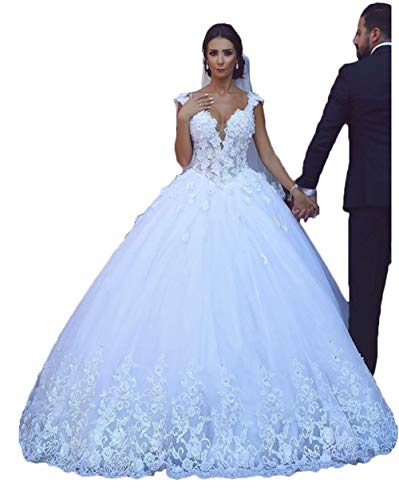 Women's Fantastic Tulle V-Neck Wedding Dresses Ball Gown Beaded Wedding Dresses for Bride 2019 with Lace Appliques White