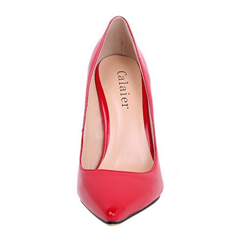 Calaier Women Caelse Pointed-Toe 12CM Block Heel Slip-on Court Shoes Red B v1q3N4