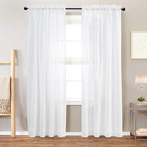 Linen Textured Sheer Window Curtains for Bedroom Off White Curtain for Living Room 84 inch Length Rod Pocket Curtain Panels 1 Pair (84 Inch Linen Curtains)