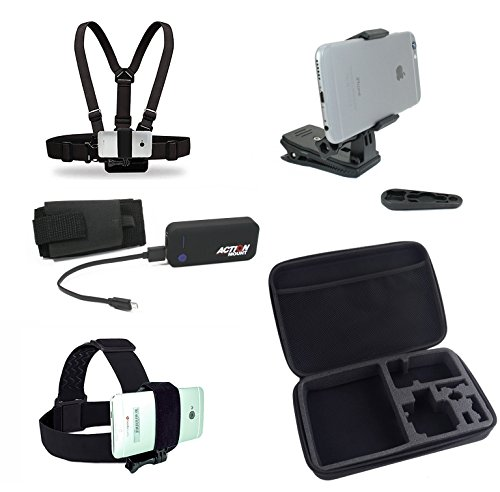 Action Mount Wearable Battery Charger | 5200mAh External Power Pack. Kit includes Chest Mount, Head Mount, Backpack Clip, Locking Phone Clamp, and Action Mount Adapter. (Wearable Mount Kit & Battery) by Action Mount