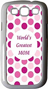 Rikki KnightTM World's Greatest Mom Pink Polka Dot - White Hard Rubber TPU Case Cover for Samsung? Galaxy i9300 Galaxy S3