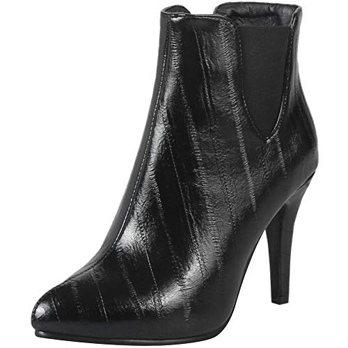 RAZAMAZA Women Fashion High Heel Dress Boots Ankle High Black-8