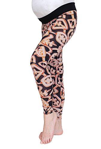 Number print, de numeros, Leggings de maternidad para mamas, leggings deportivos, tela opaca, la banda está bajo golpe del embarazo, M