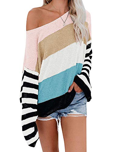 ETCYY NEW Womens Oversized Pullover Sweater Colorblock Rainbow Striped Casual Long Sleeve Loose Knitted Shirts Tops