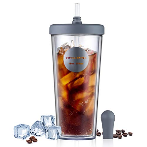 RED MAISON Insulated Travel Tumblers Double Wall Drink Tumbler Cup with Reusable Straw & Lid for Party Coffee Juice Beverage To Go Hot or Cold Drink,18 oz (Grey)