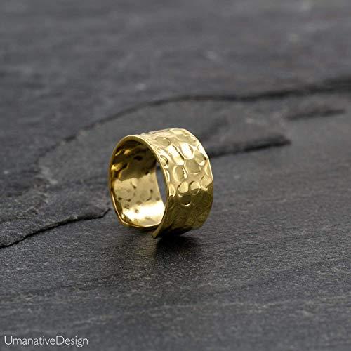 Fake Ear Cuff, Gold Brass Faux No piercing Ear Wrap Earring, fits Cartilage & Helix, Tribal Style, Adjustable Earcuff, Handmade Jewelry