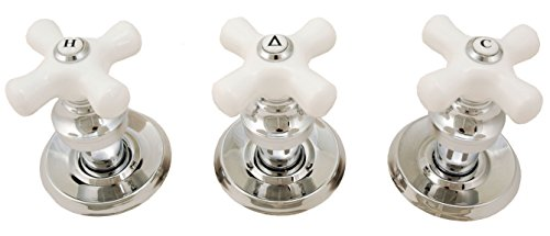 Trim Kit for 3-handle Shower Valve, With Porcelain Cross Handles, Fit Delta Washerless Shower, Chrome Finish -By Plumb USA ()