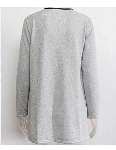 Monocromo Outwear Moda Manica Autunno Mode Grigio Donna Giaccone Cardigan Maglia A Giovane Elegante Tasche Cappotto Anteriori M color Marca Size Lunga Di Baggy Tw4gqPE