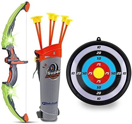 GoBroBrand Bow and Arrow Set for Kids -Green Light Up Archery Toy Set -Includes 6 Suction Cup Arrows, Target & Quiver – for Boys & Girls Ages 3 -12 Years Old