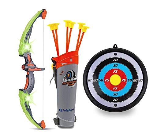 GoBroBrand Bow and Arrow Set for Kids -Green Light Up Archery Toy Set -Includes 6 Suction Cup Arrows, Target & Quiver - for Boys & Girls Ages 3 -12 Years Old