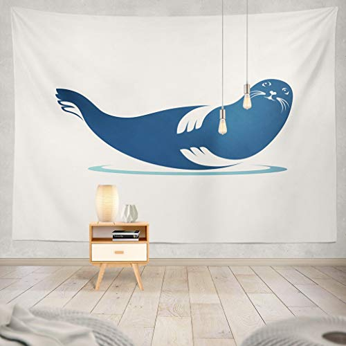 KJONG Color Silhouette Sea Seal Animal Symbol Wildlife Lion Mammal Sea Seal Silhouette Animal Aqua Arctic Art Baby Decorative Tapestry,60X60 Inches Wall Hanging Tapestry for Bedroom Living ()