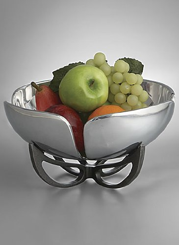 Nambe Anvil Petal Fruit Bowl, 11-Inch, Iron Finish Alloy by Nambe