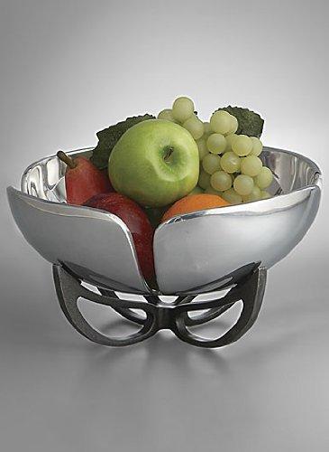 Nambe Anvil Petal Fruit Bowl, 11-Inch, Iron Finish Alloy