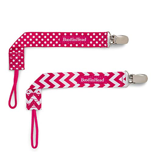 orn PaciGrip Pacifier Clip, Holder, Toy, Teether, Soothie, Universal Loop Girl, Pink Chevron, Pink Polka Dots, 2 Pack ()