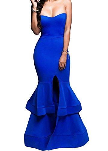 Christmas DH-MS Dress Women's Strapless Padded Ponte Gown blue L (Brazil Fancy Dress Ideas)