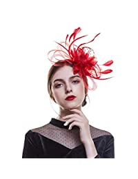 AWAYTR Feather Fascinators Mesh hat-Hair Clip for Wedding Church Party Women