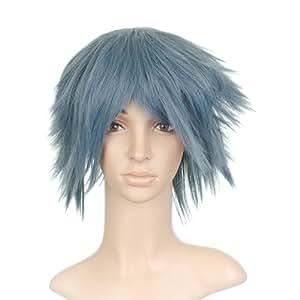 Corto Azul Gris Anime cosplay peluca