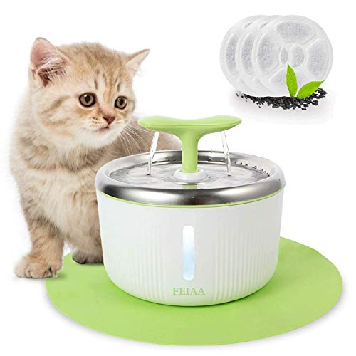 FEIAA Cat Water FountainStainless Steel PetWaterfall DispenserAutomaticKitty Dog Drinking FountainsBowlwith LED Indicator