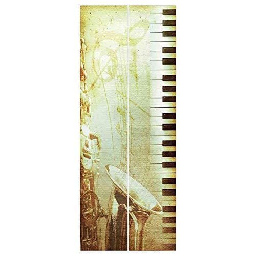 VAMIX Wallpaper Stickers [ Jazz Music Decor,Print of Piano Keys on Background with Musical Notes Image Nostalgia Jazz Theme,Golden Black ] Mural Door Wall Stickers Wallpaper Mural DIY HOM -