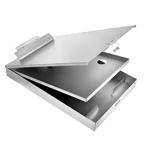 AdirOffice Aluminum Dual Storage Clipboard - Multi Compartment Desktop File Holder - Quick Access Paper References for School Office & Home ()