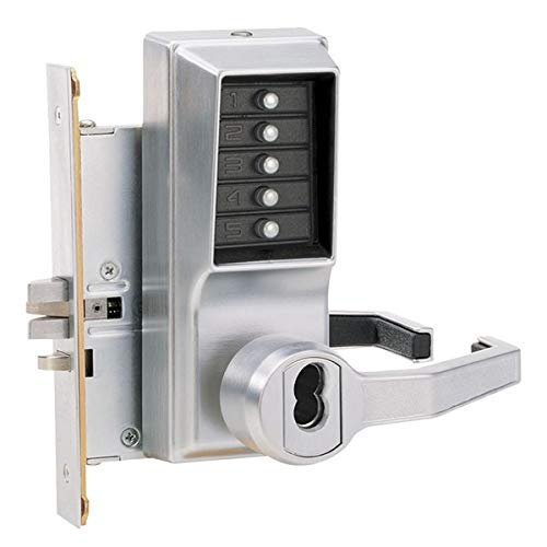 Cylindrical 13mm Throw Latch Bright Brass Finish Kaba Simplex 1000 Series Combination Entry Cylindrical Mechanical Pushbutton Lock with Knob 70mm Backset Floating Face Plate Core Not Included R//C Schlage Key Override