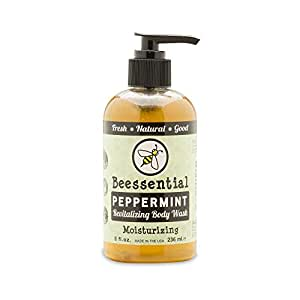 Beessential All Natural Peppermint Body Wash - Fresh and Invigorating Peppermint Scent- Great for Men, Women, and Teens - Moisturizing Honey, Aloe, Coconut, and Virgin Hemp Oil - 8 Fl. Oz.