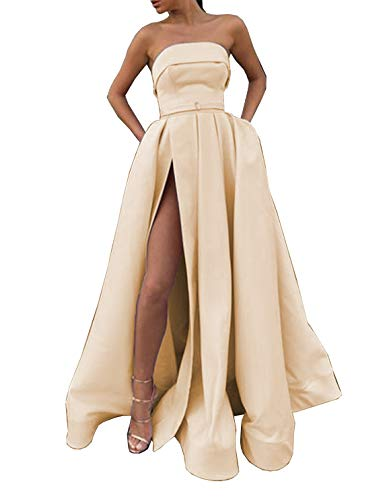 Scarisee Women's 2019 Formal Strapless Prom Evening Dresses with Split & Pockets Wedding Party Gowns Champagne 6