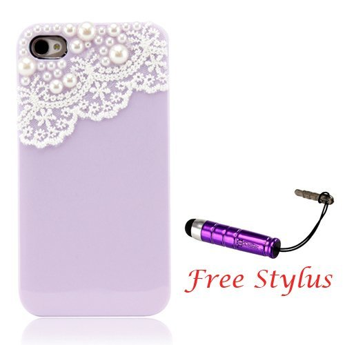 Solid Dealio Hand Made Lace and Pearl Purple Hard Case Cover for iPhone 4 4G 4S