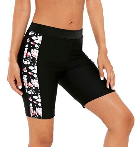beautyin Women's High Waist Swim Bottom Floral Boardshort Tankini Bottoms Swim Shorts, L ()