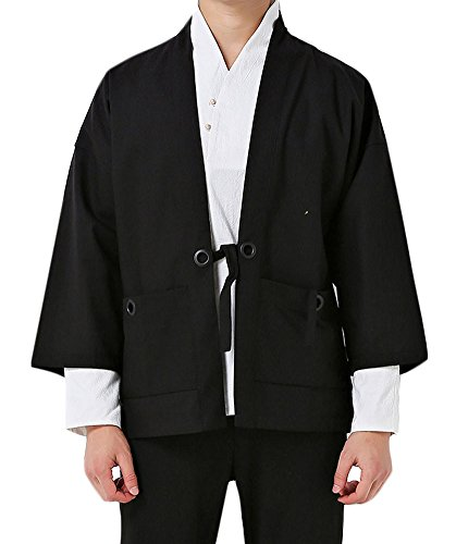 - Plaid&Plain Men's Vintage Kimono Cardigan Casual Linen Pocket Cardigan Coat Black L