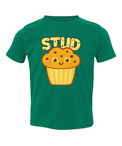 Muffin Green T-shirt - Societee Stud Muffin Handsome Adorable Little Kids Girls Boys Toddler T-Shirt (Green, 5T)