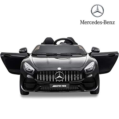 Sinoluck Kids Ride on Car 12V Mercedes Benz GT Kids Electric Car 2 Seater Dual Drive 35W2 Battery Motorized Cars for Kids with Remote Control, Built-in LED Lights, Bluetooth, Horn (Black)