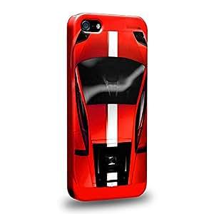 Case88 Premium Designs Art Collections Hand Drawing Sport Car Red Carcasa/Funda dura para el Apple iPhone 5 5s